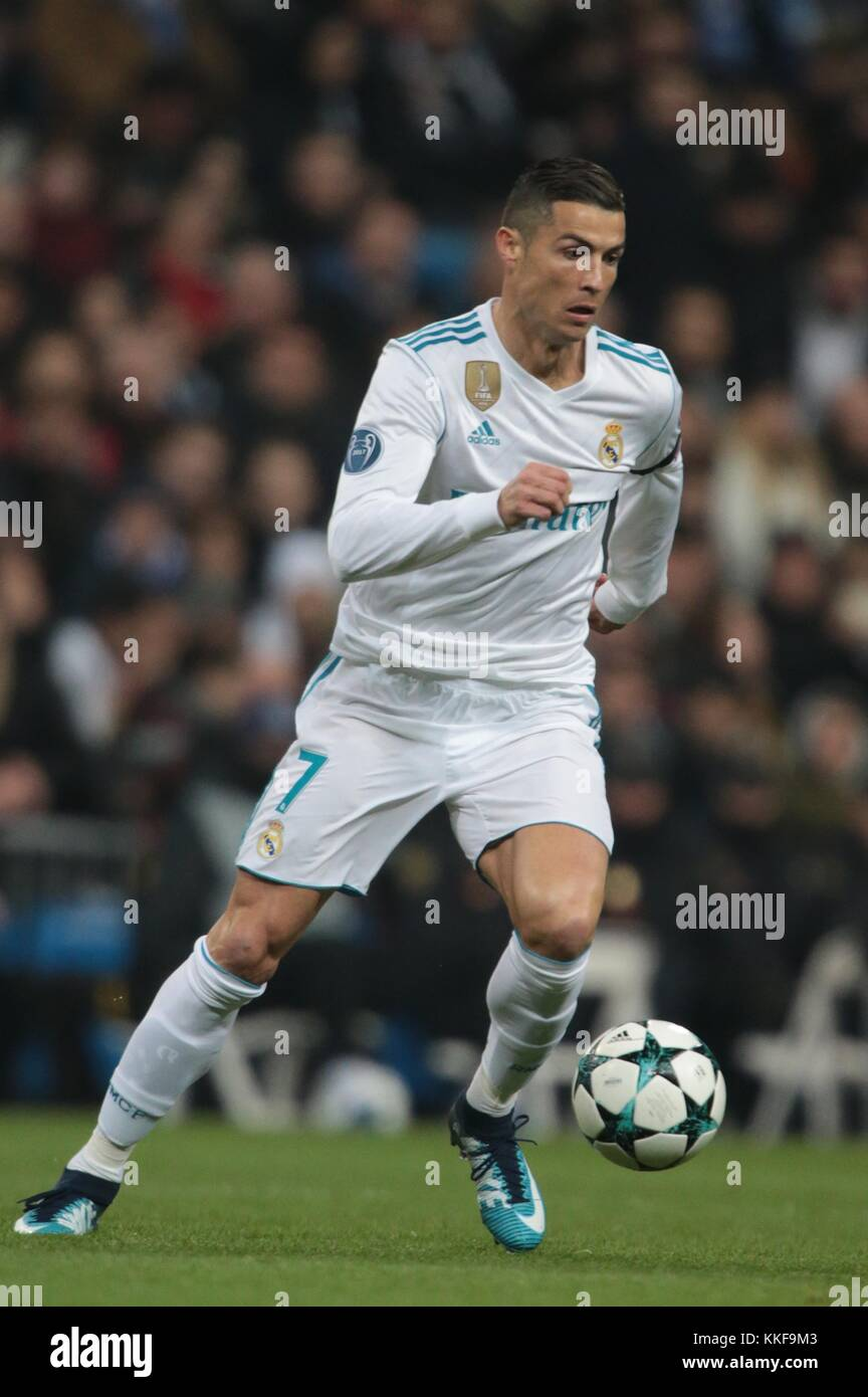 Madrid. 6th Dec, 2017. Cristiano Ronaldo of Real Madrid competes during the UEFA Champions League group H football - Stock Image