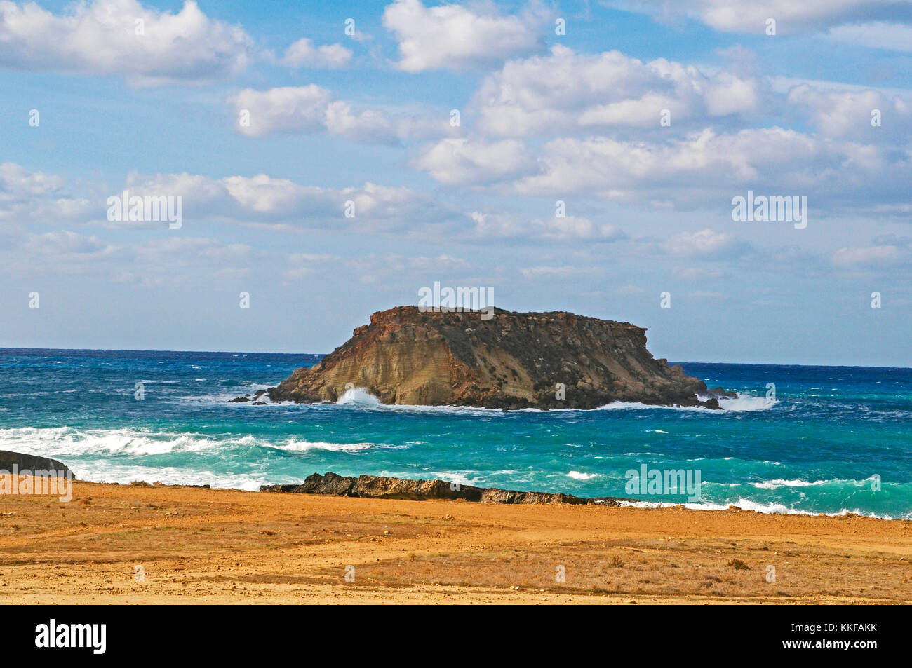 View to the offshore island at Agios Georgios  Cape Drepano Paphos Cyprus - Stock Image