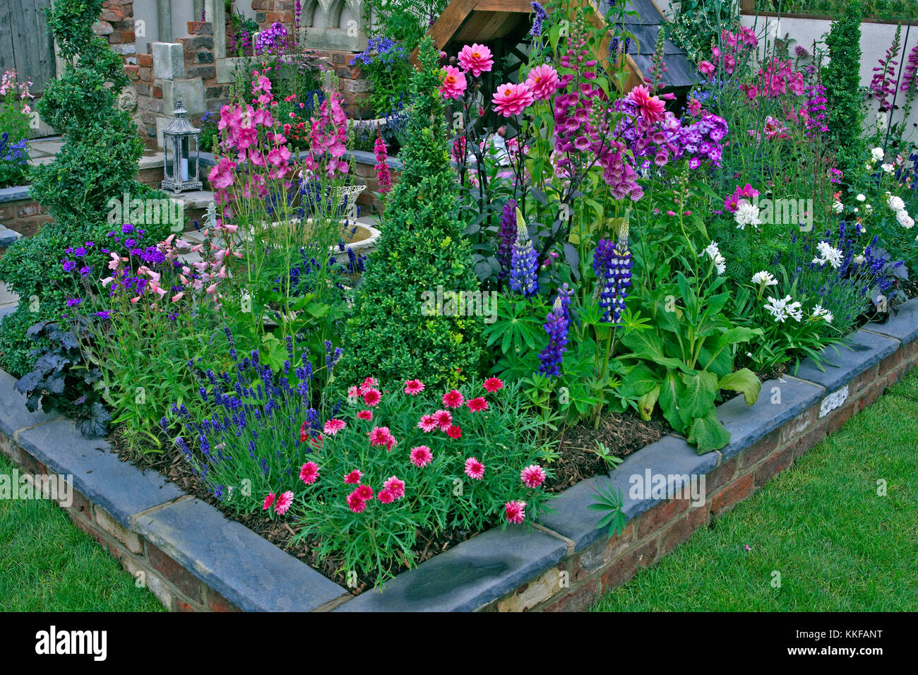 Colourful Planting In A Raised Bed Of A Small Urban Garden Stock Photo Alamy