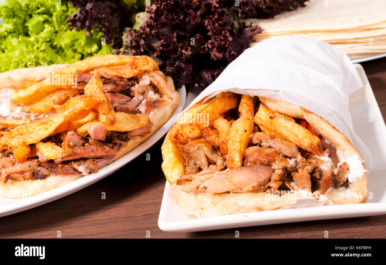 Doner kebabs on the plates - Stock Image
