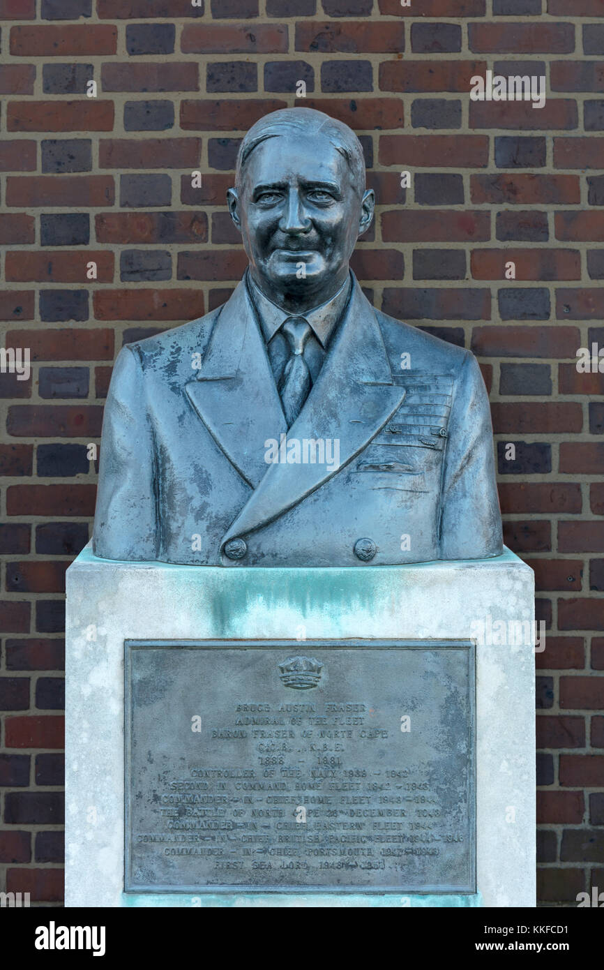 Bruce Austin Fraser Bust Statue, Admiral of the Fleet, Controller of the Navy Baron Fraser of North Cape, Royal Stock Photo