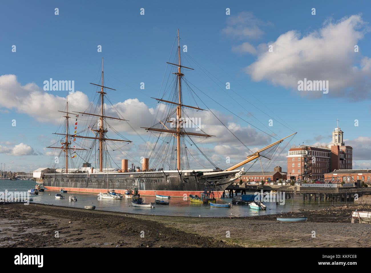 HMS Warrior 1860, first iron clad warship, designed by Issac Watts and Tomas Lloyd, , Portsmouth, Hampshire, England, Stock Photo