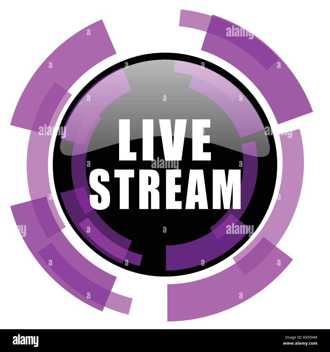 Live stream pink violet modern design vector web and smartphone icon. Round button in eps 10 isolated on white background. - Stock Image