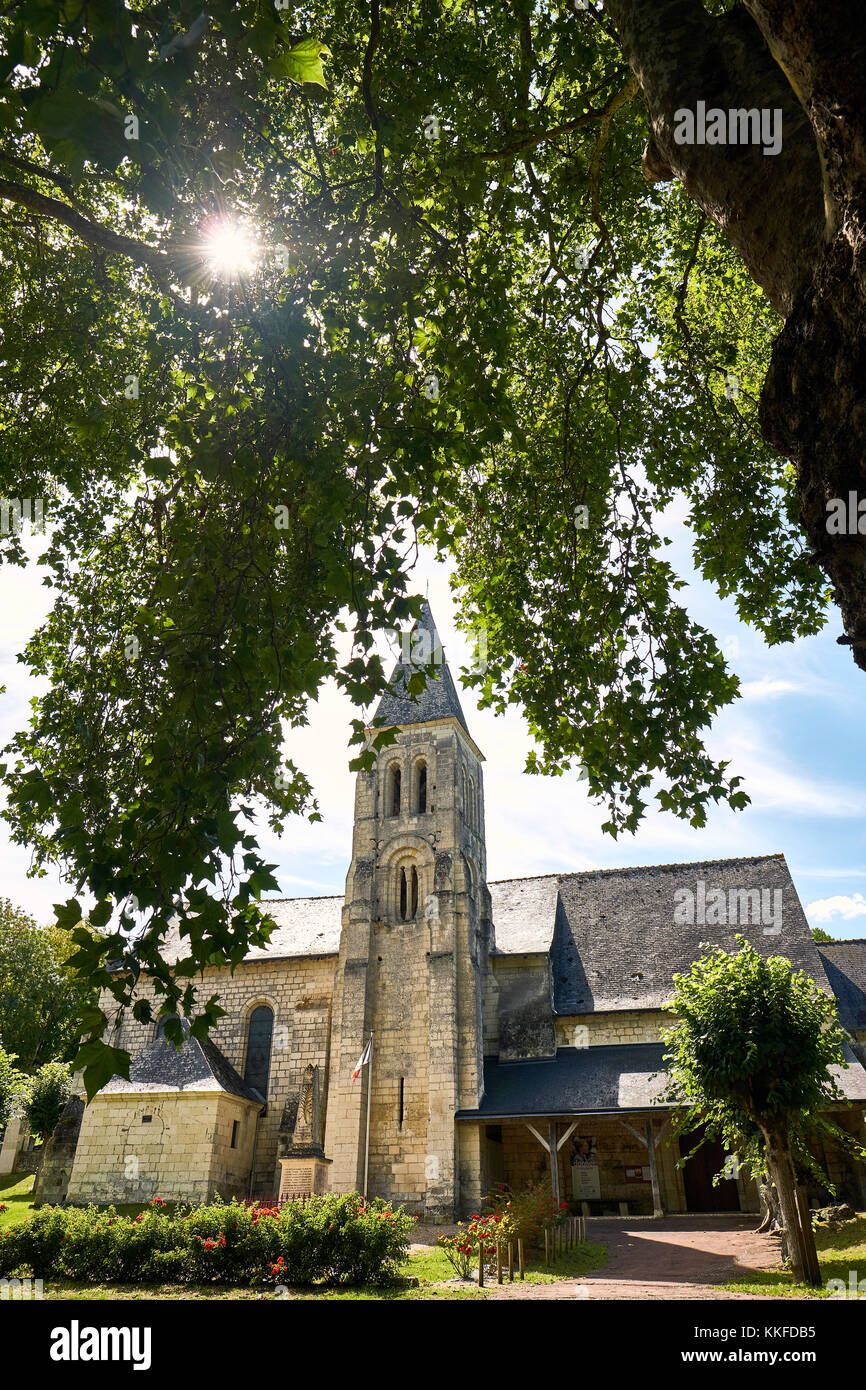 The church in Saint-Germain-sur-Vienne, Indre et Loire France. - Stock Image