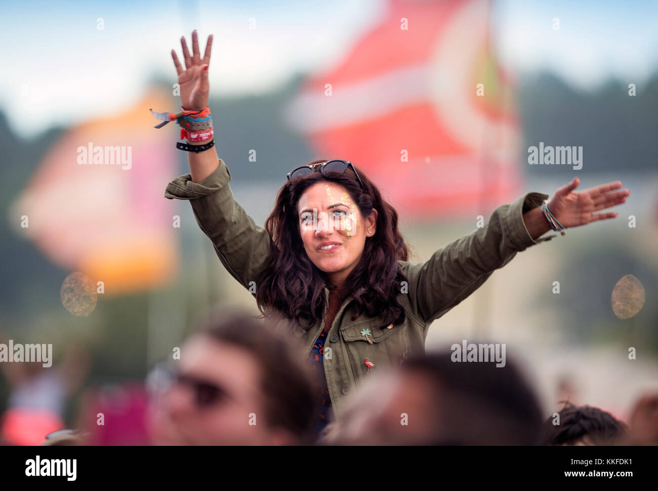 A George Ezra fan in the crowd at the Other Stage at Glastonbury 2017 - Stock Image