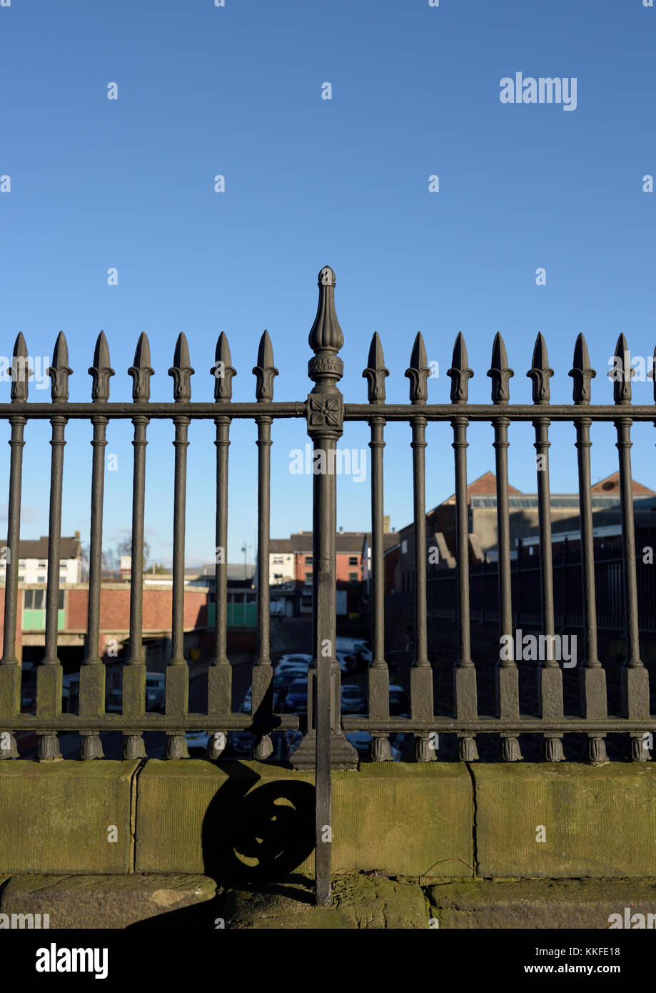 Black cast iron railings with sprouting finials on bank street bury lancashire - Stock Image