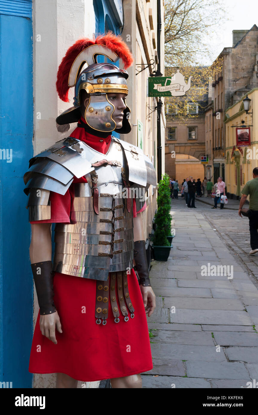 model roman centurian guard in the historic city of bath, england, britain, uk. - Stock Image