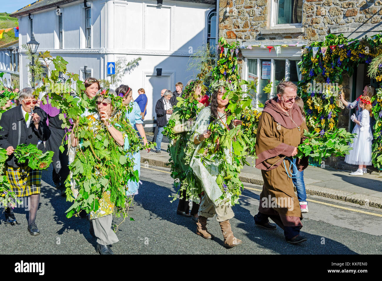 participants in the hal-an-tow pageant on flora day in helston, cornwall, england, uk. - Stock Image