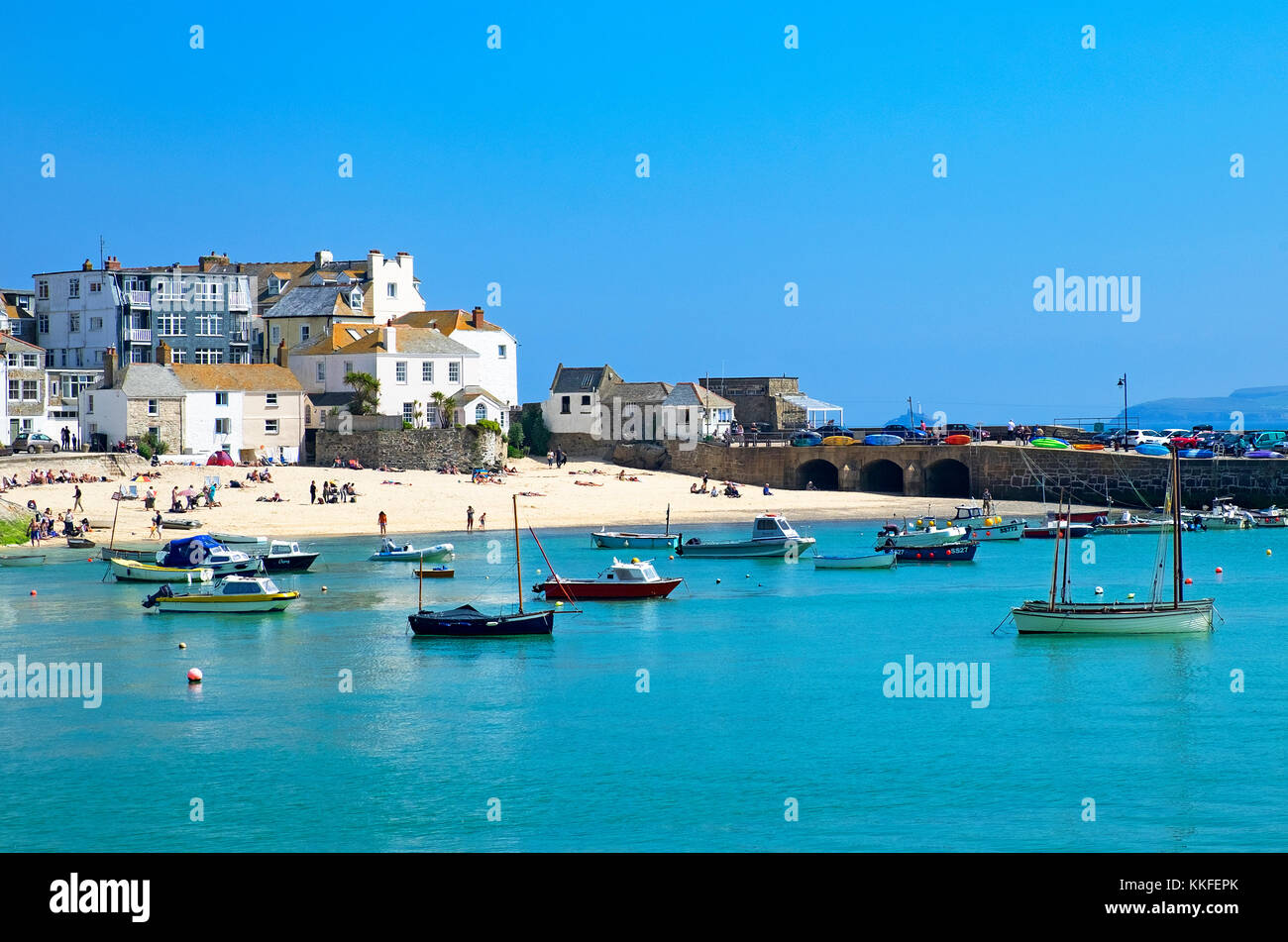 boats in the harbour at st.ives, cornwall, england, britain, uk. Stock Photo