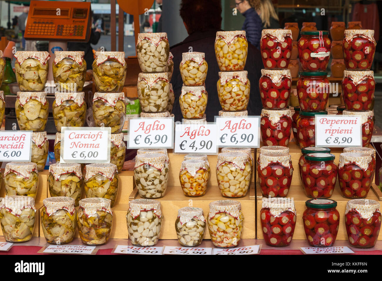 d8622be53d98 Display of speciality Italian potted vegetables in glass jars on ...