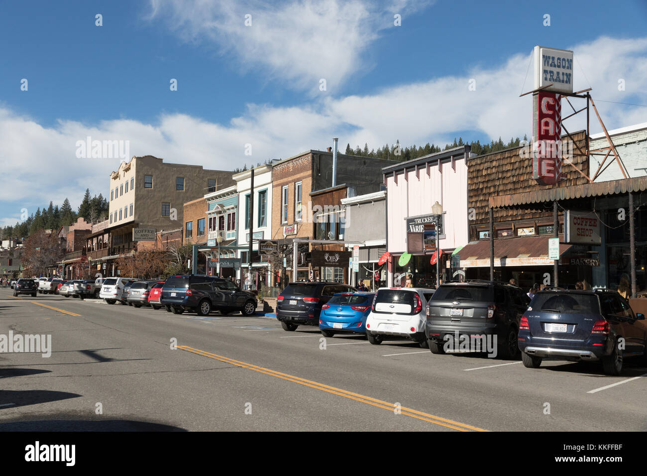 The historic town of Truckee, California is popular tourist destination with access to Lake Tahoe, Reno, and Donner - Stock Image