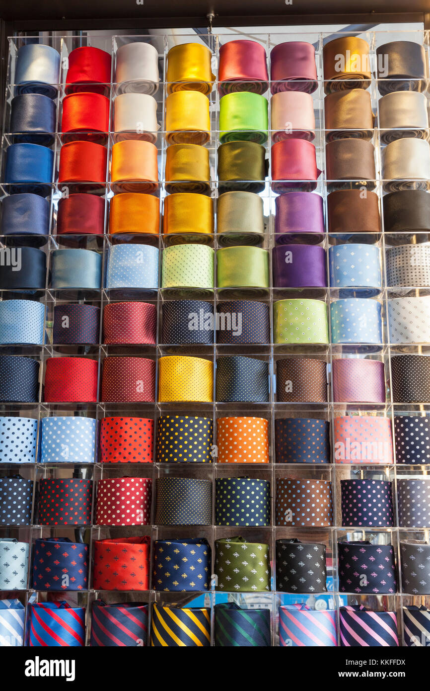 Colorful display of assorted rolled mens neckties or ties in plain Stock  Photo - Alamy