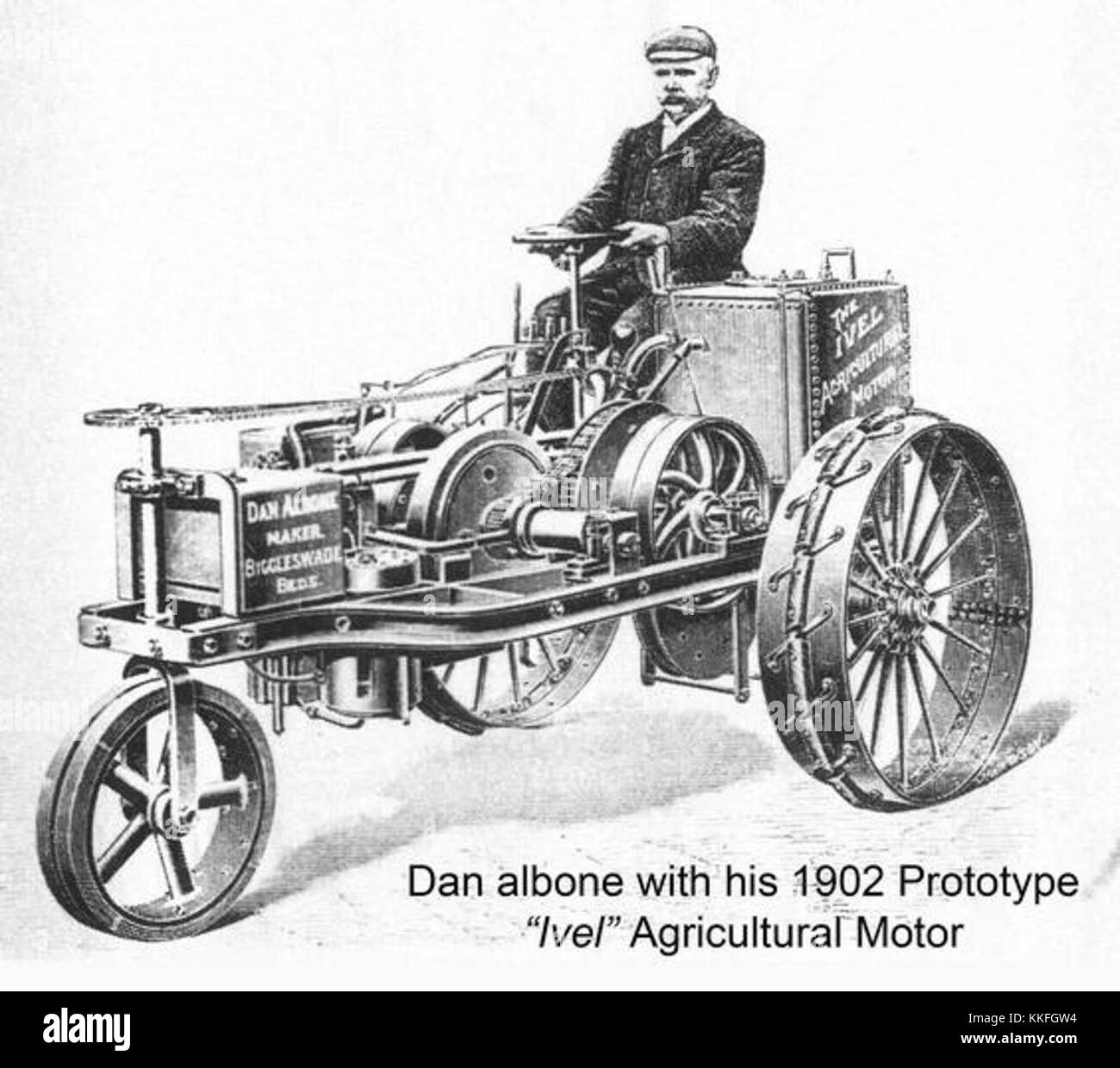 Dan Albone with his 1902 prototype Ivel Agricultural Motor, the ...