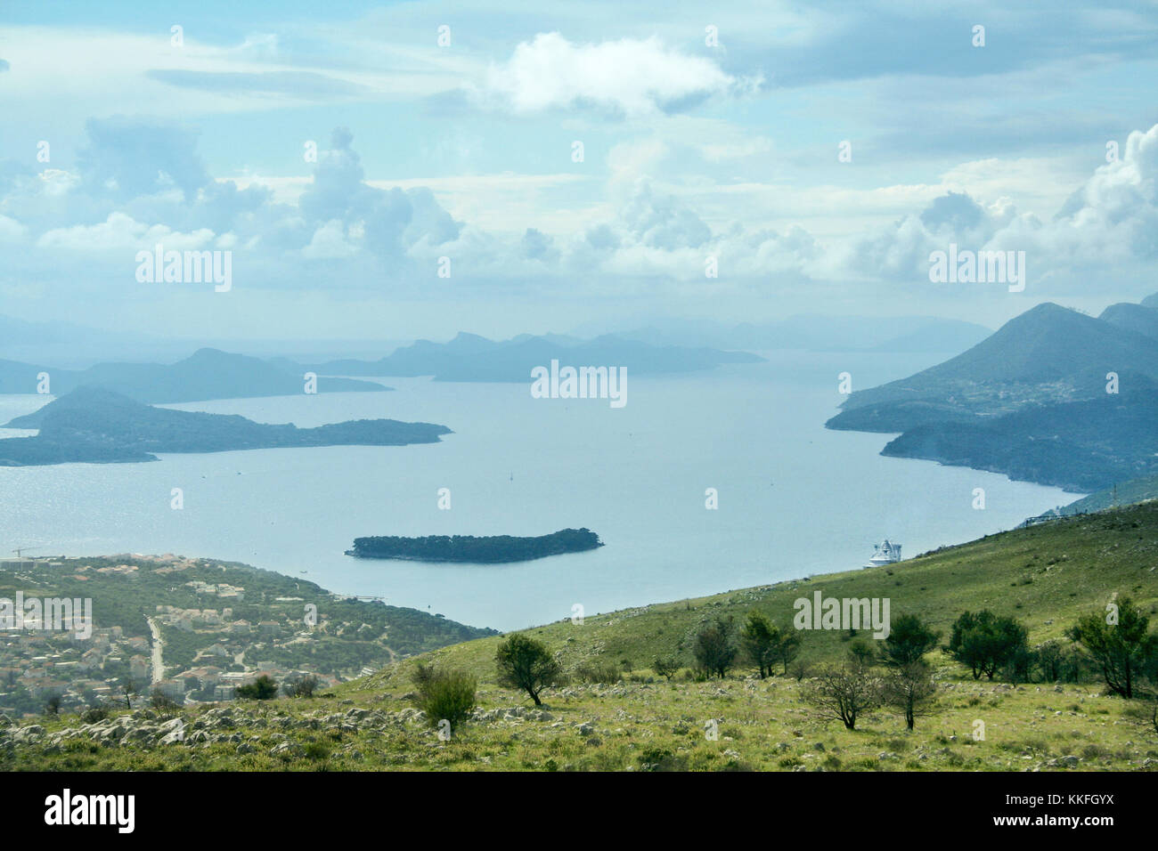 Croatian islands on the Adriatic sea taken from a mountain of Dubrovnik during a sunny summer afternoon. Croatia - Stock Image