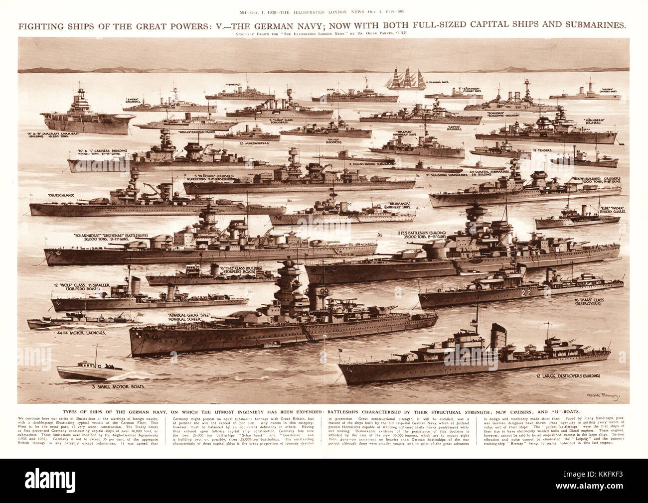 1938 UK Magazine Illustration Warships of the German Navy - Stock Image