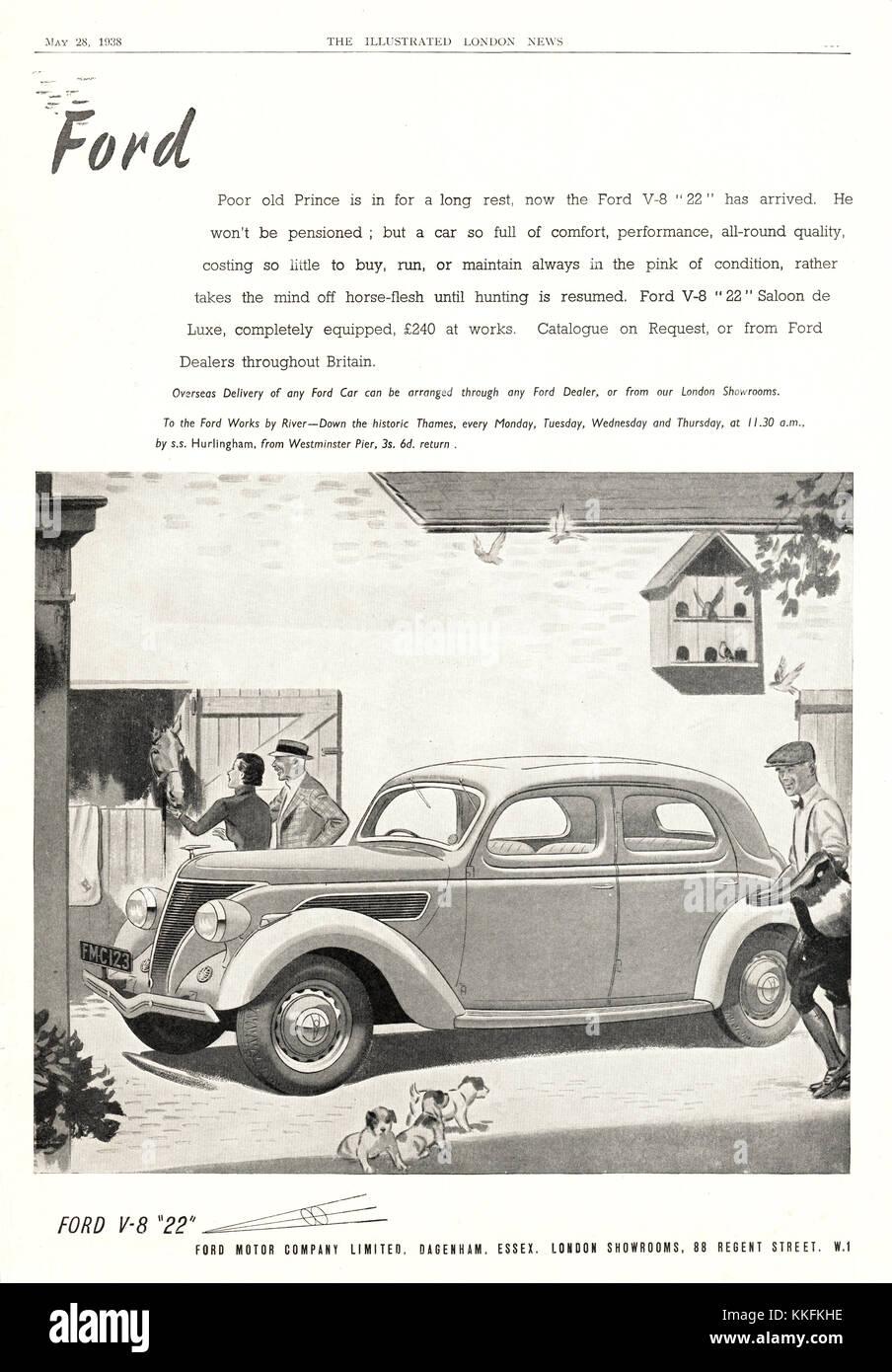 1938 UK Magazine Ford Car Advert - Stock Image
