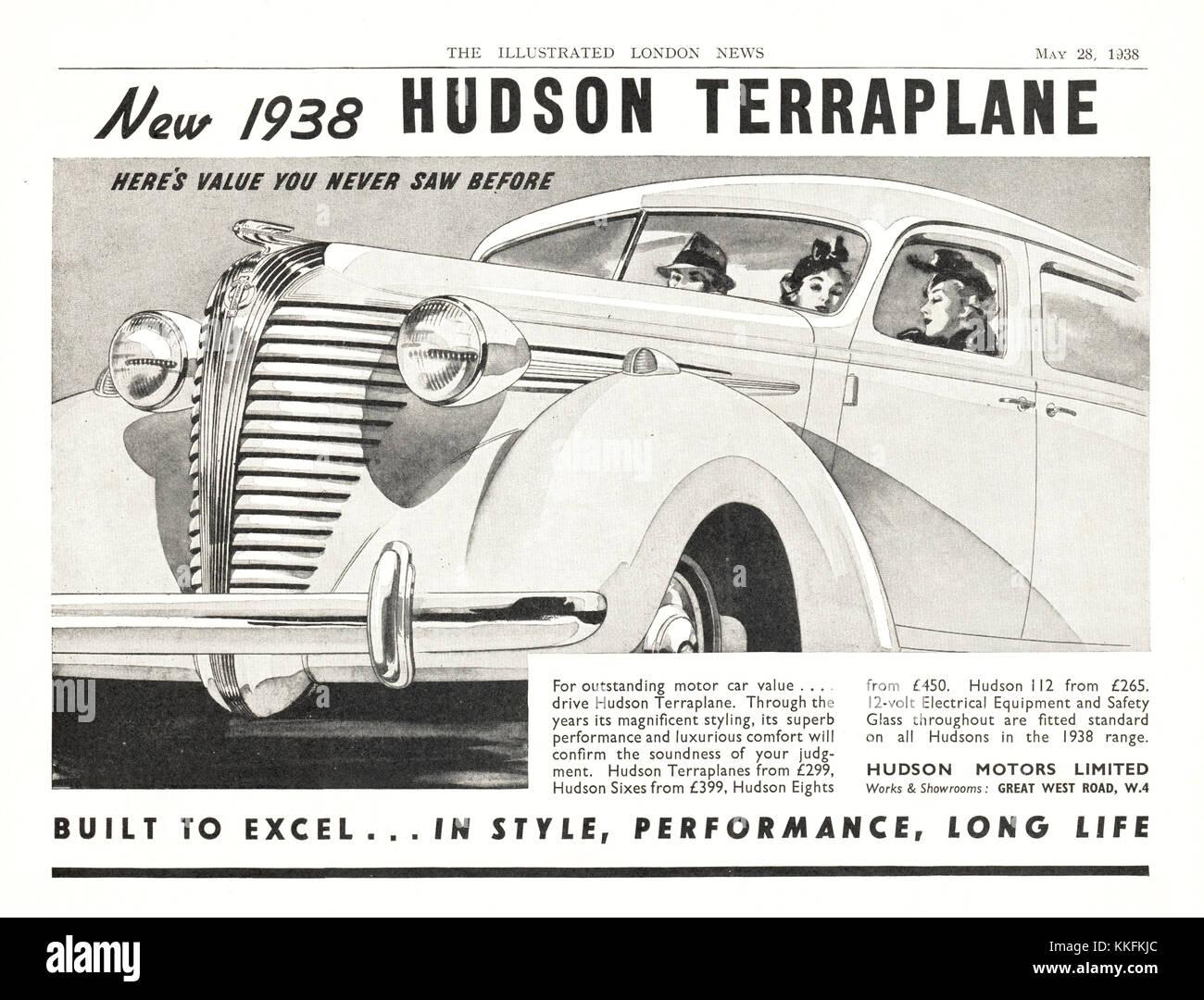 1938 UK Magazine Hudson Terraplane Car Advert Stock Photo: 166916468 ...