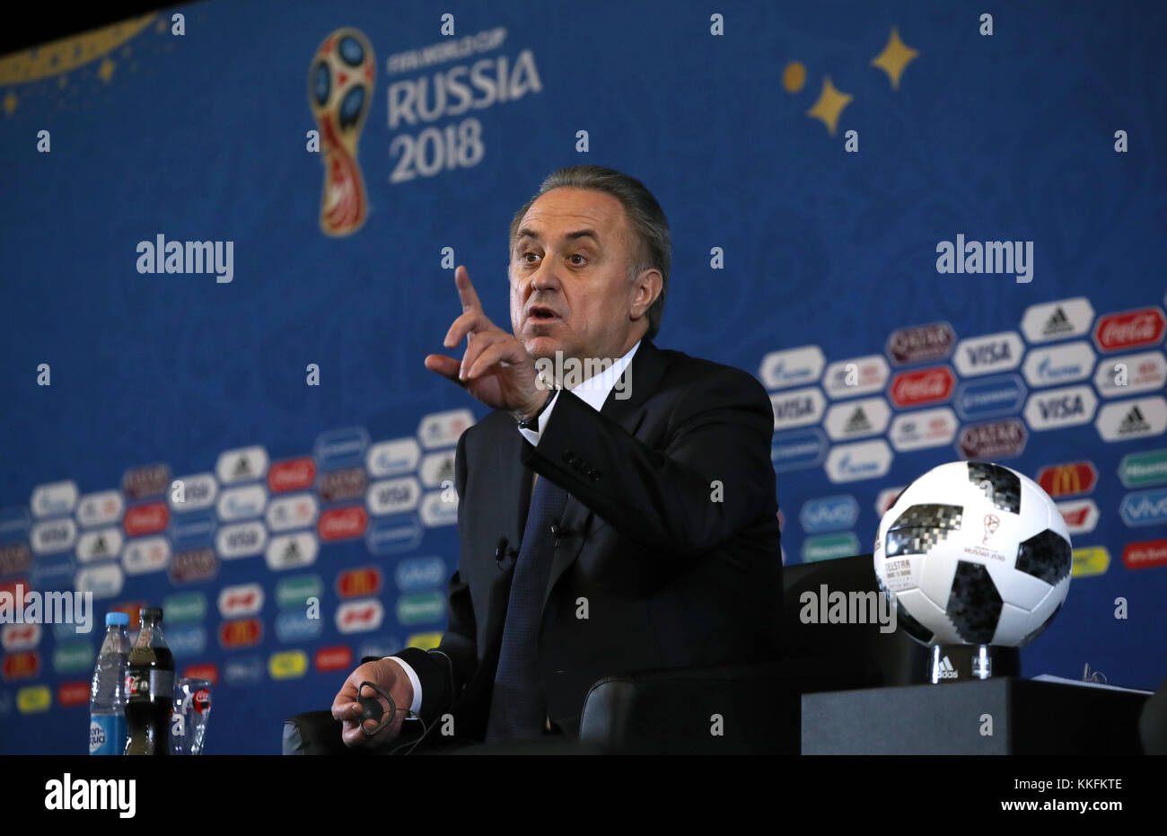 Vitaly Mutko, president of the Russian Football Union during a press conference ahead of the FIFA 2018 World Cup - Stock Image