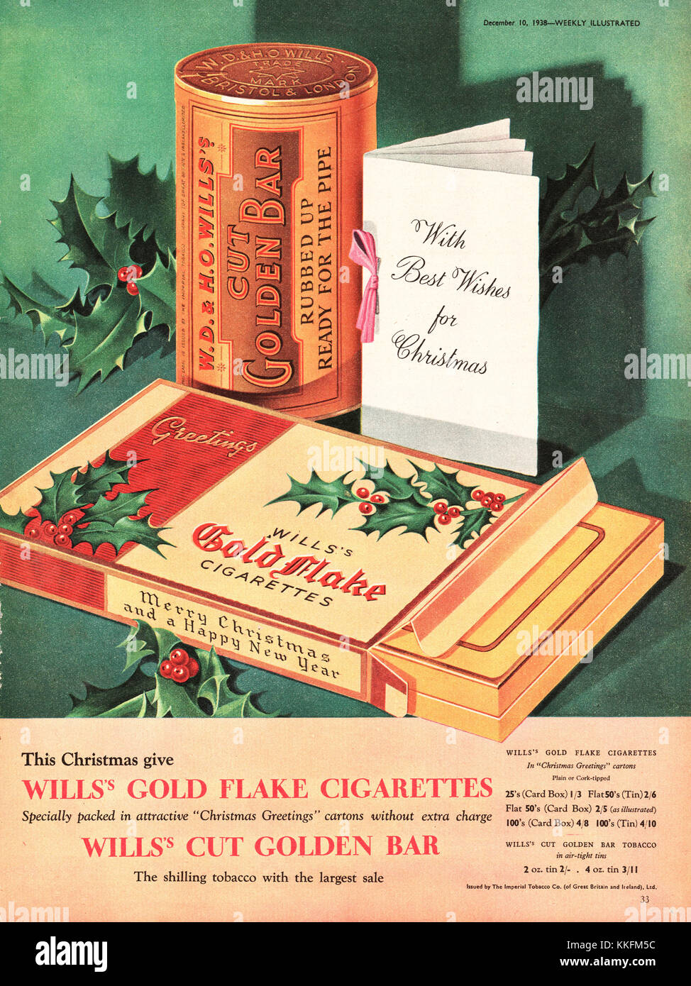 1938 UK Magazine Gold Flake Cigarette Advert - Stock Image
