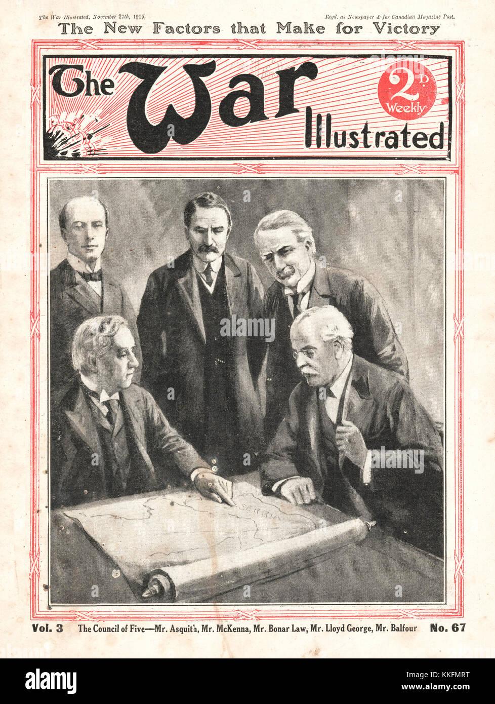 1915 War Illustrated British Political Leaders - Stock Image