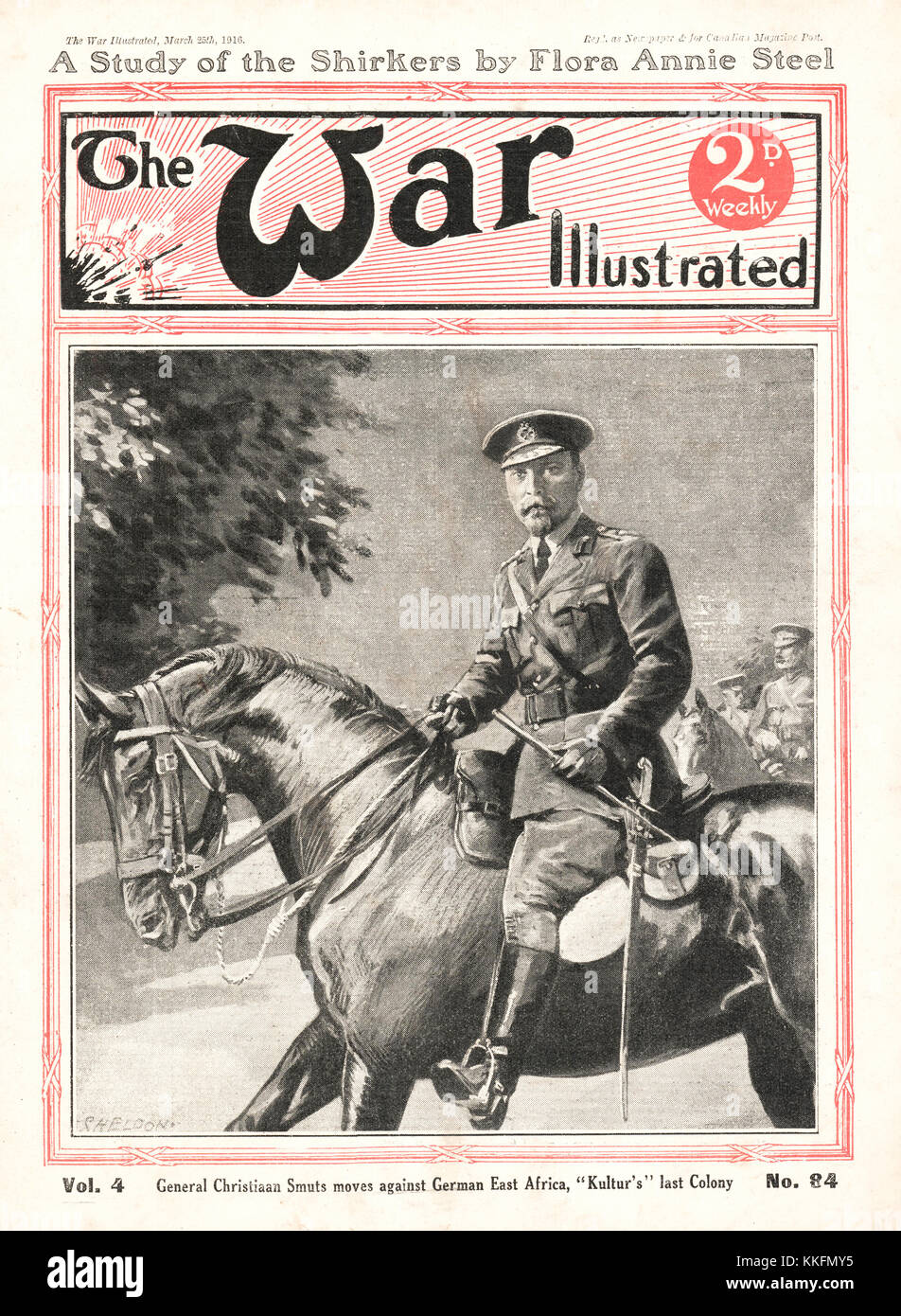 1916 War Illustrated General Christiaan Smuts in German East Africa - Stock Image