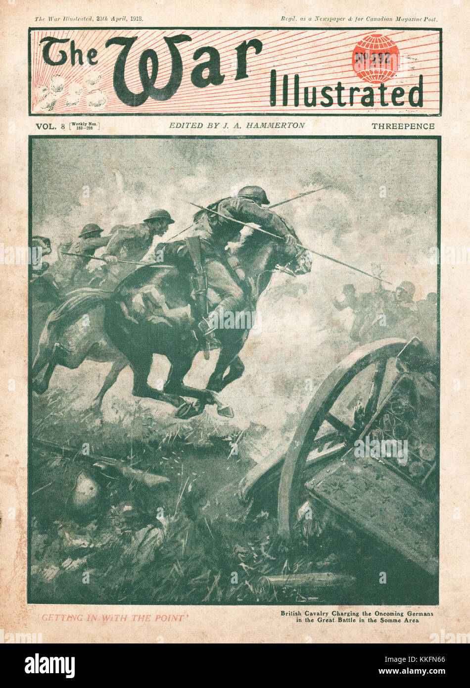 1918 War Illustrated Cavalry Charge on the Somme - Stock Image
