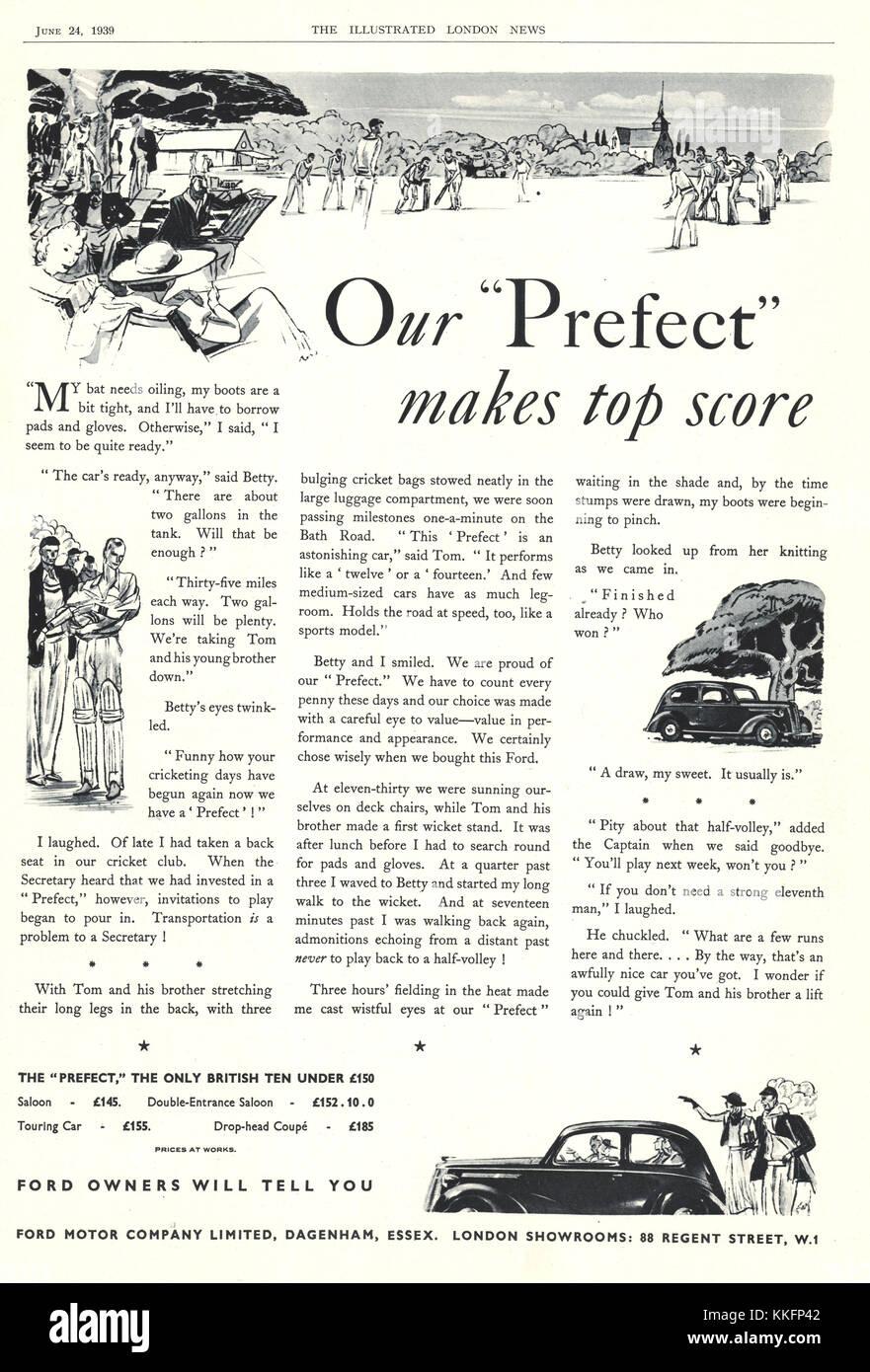 1939 UK Magazine Ford Car Advert - Stock Image