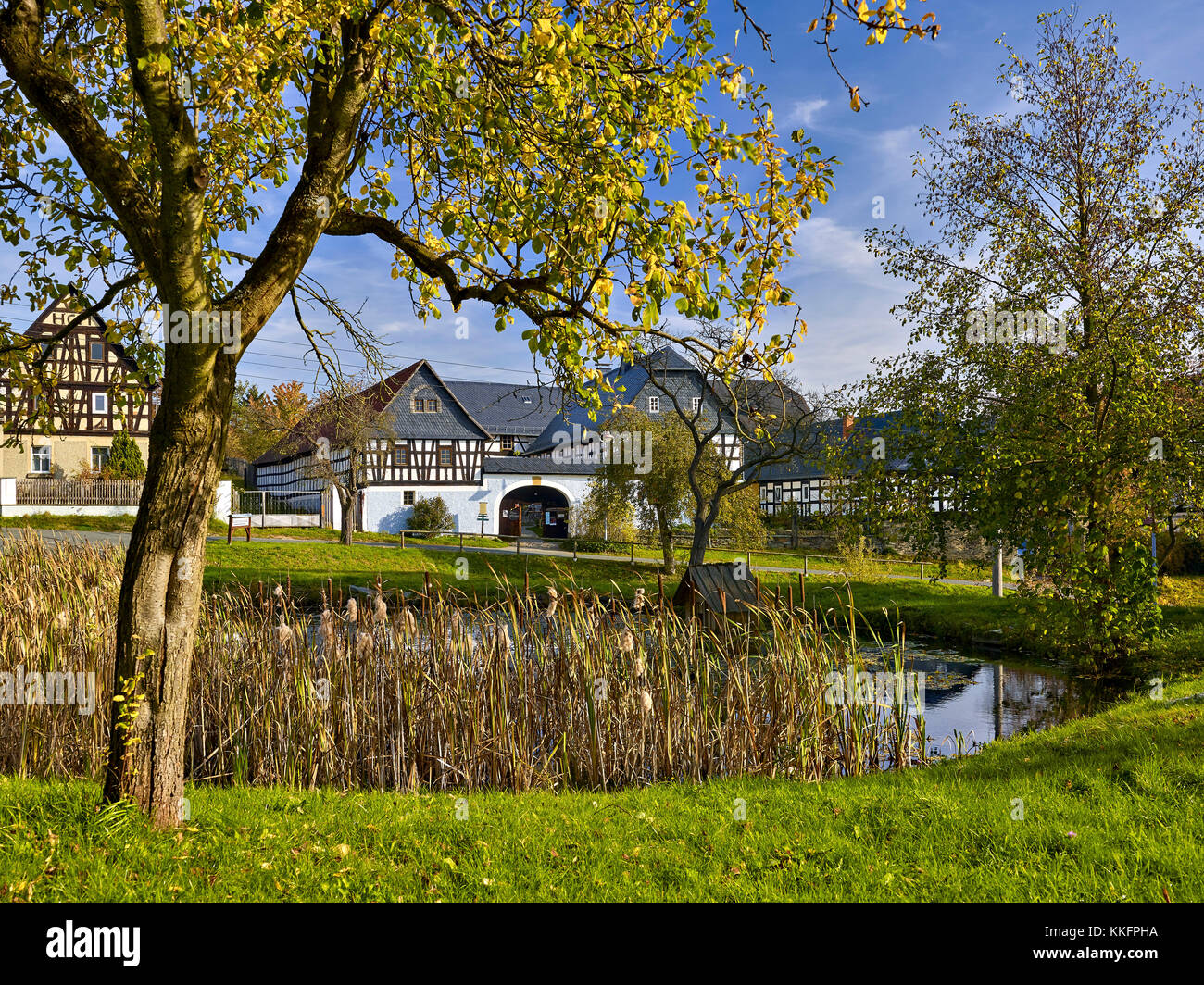Nitschareuth, historic village green with four-sided courtyards near Greiz, Thuringia, Germany - Stock Image