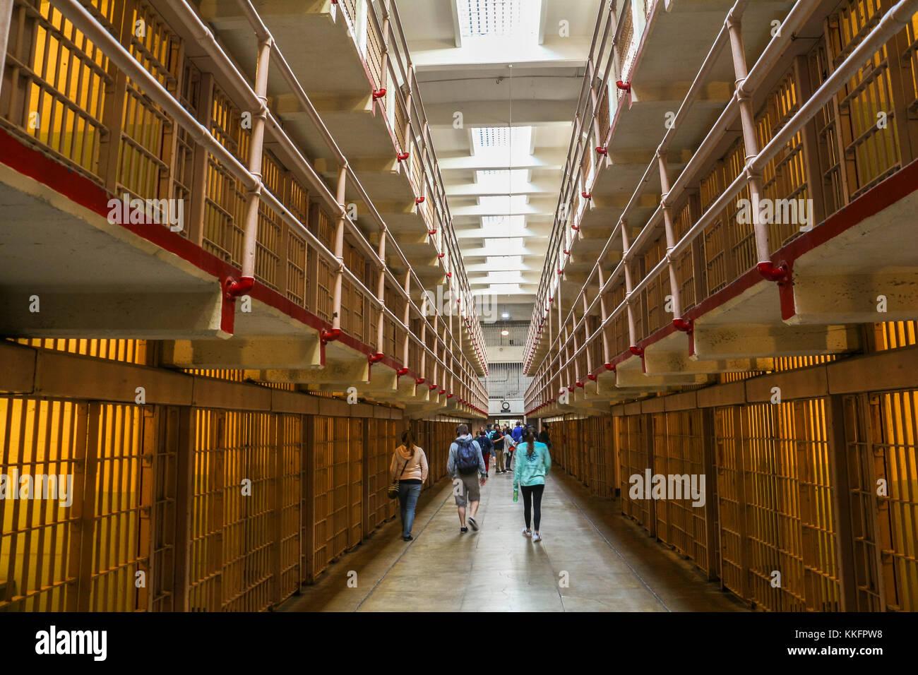 Inside the prison of Alcatraz in San Francisco Stock Photo