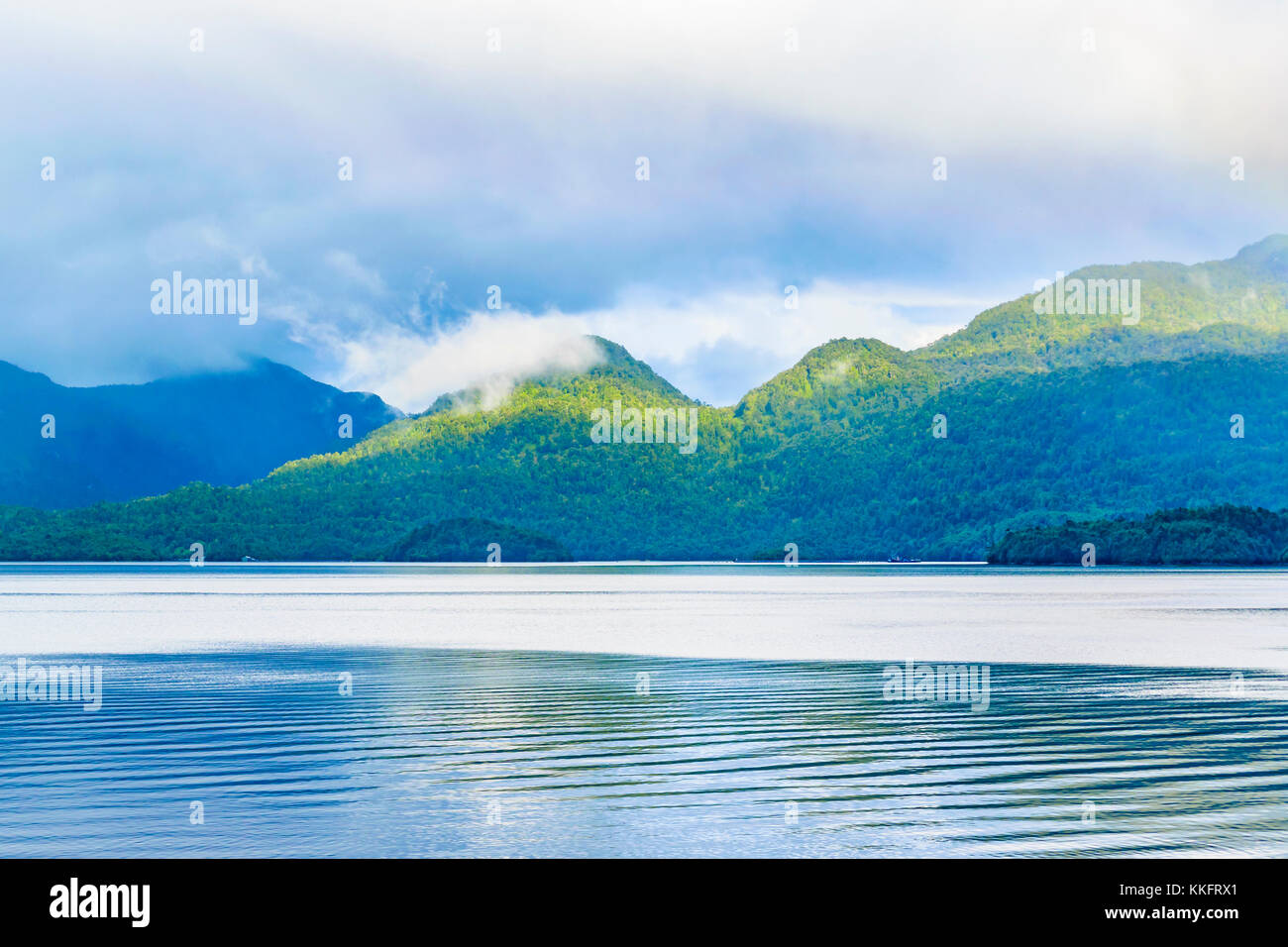 Fjord landscape at puyuhuapi town, patagonia, Chile - Stock Image