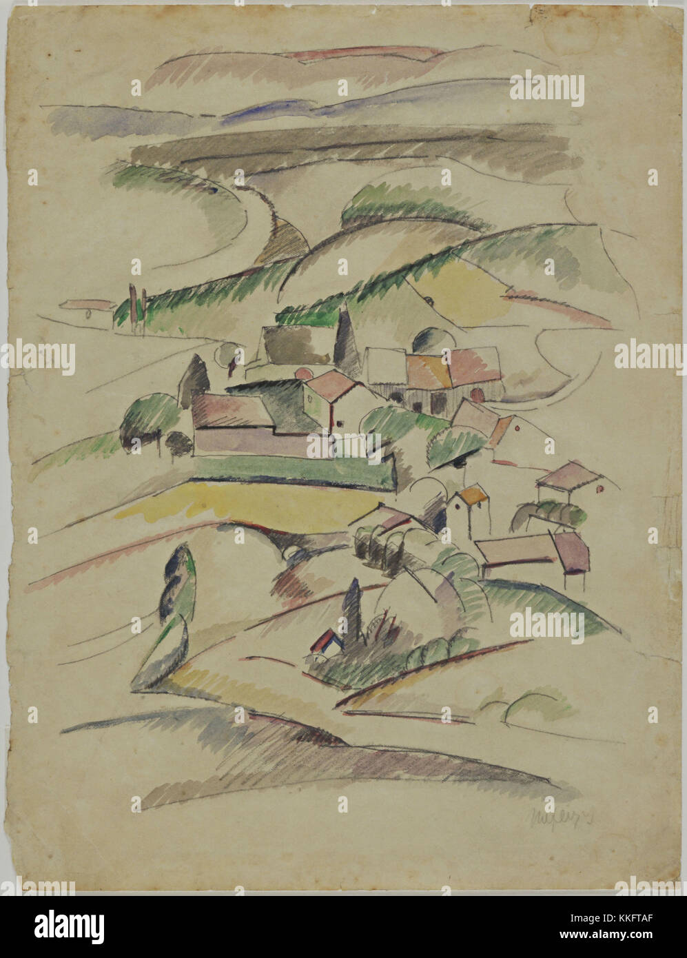 Albert Gleizes. (French, 1881-1953). Houses in a Valley. (c. 1910). Watercolor and pencil on paper, 12 1/4 x 9 3/8' - Stock Image