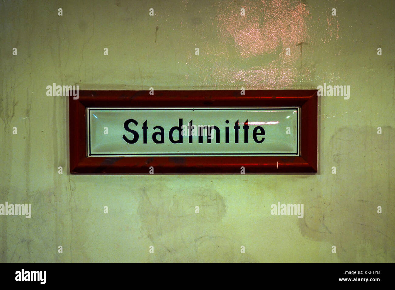 Berlin subway station name plate in Stadtmitte, Berlin,Germany. - Stock Image