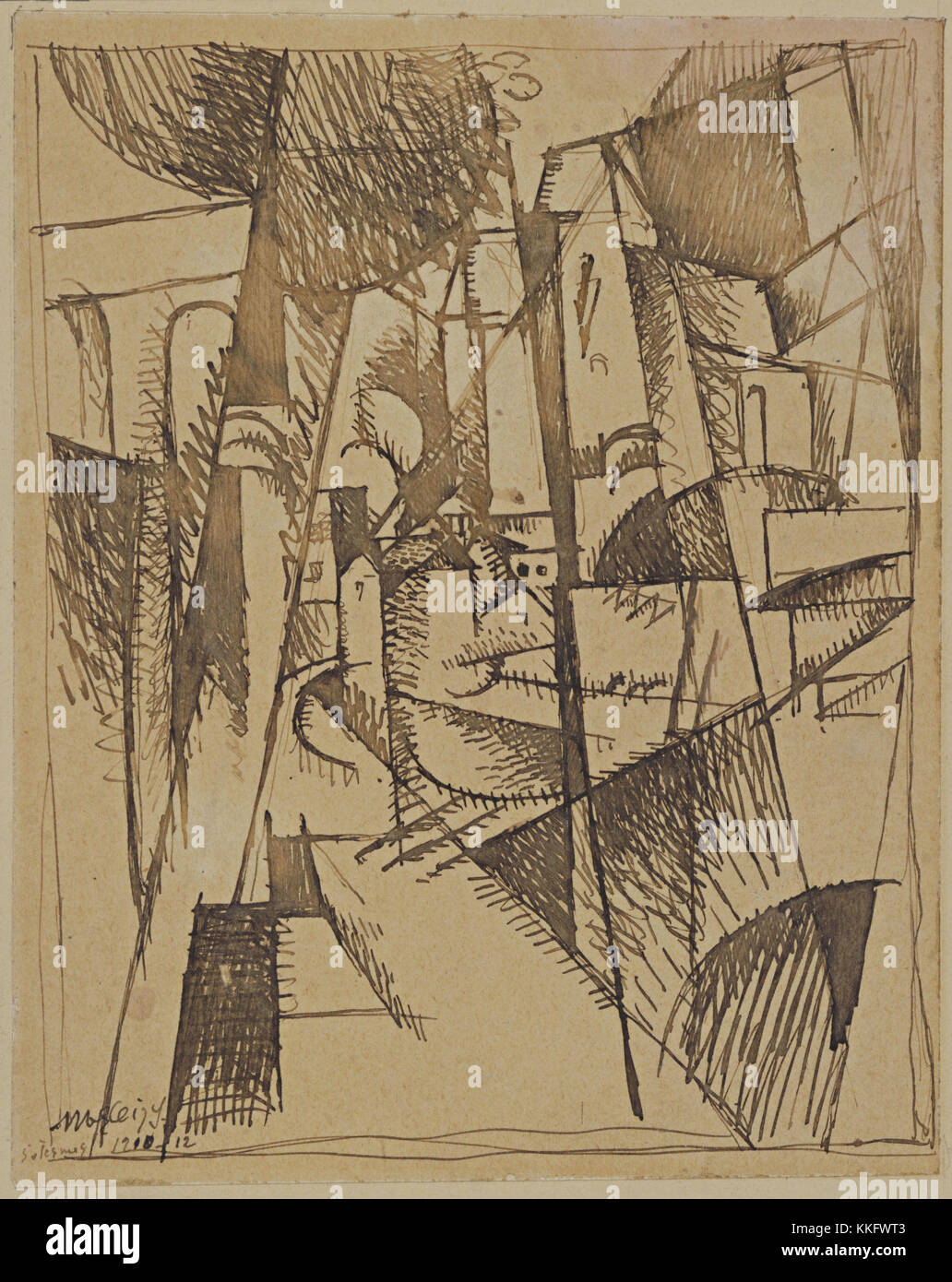 Albert Gleizes. (French, 1881-1953). Landscape with Bridge and Viaduct. 1910. Ink on paper, 6 3/4 x 5 1/2' (17.0 - Stock Image