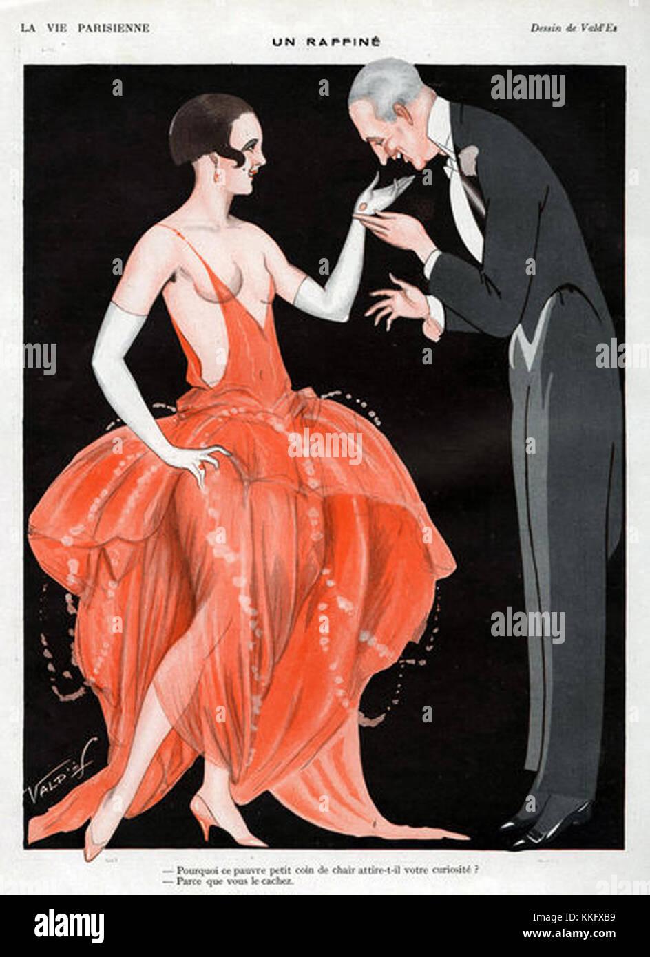 La Vie Parisienne 1923 1920s France ValdÕes  illustrations sugar daddies daddy mens womens  dresses evening - Stock Image