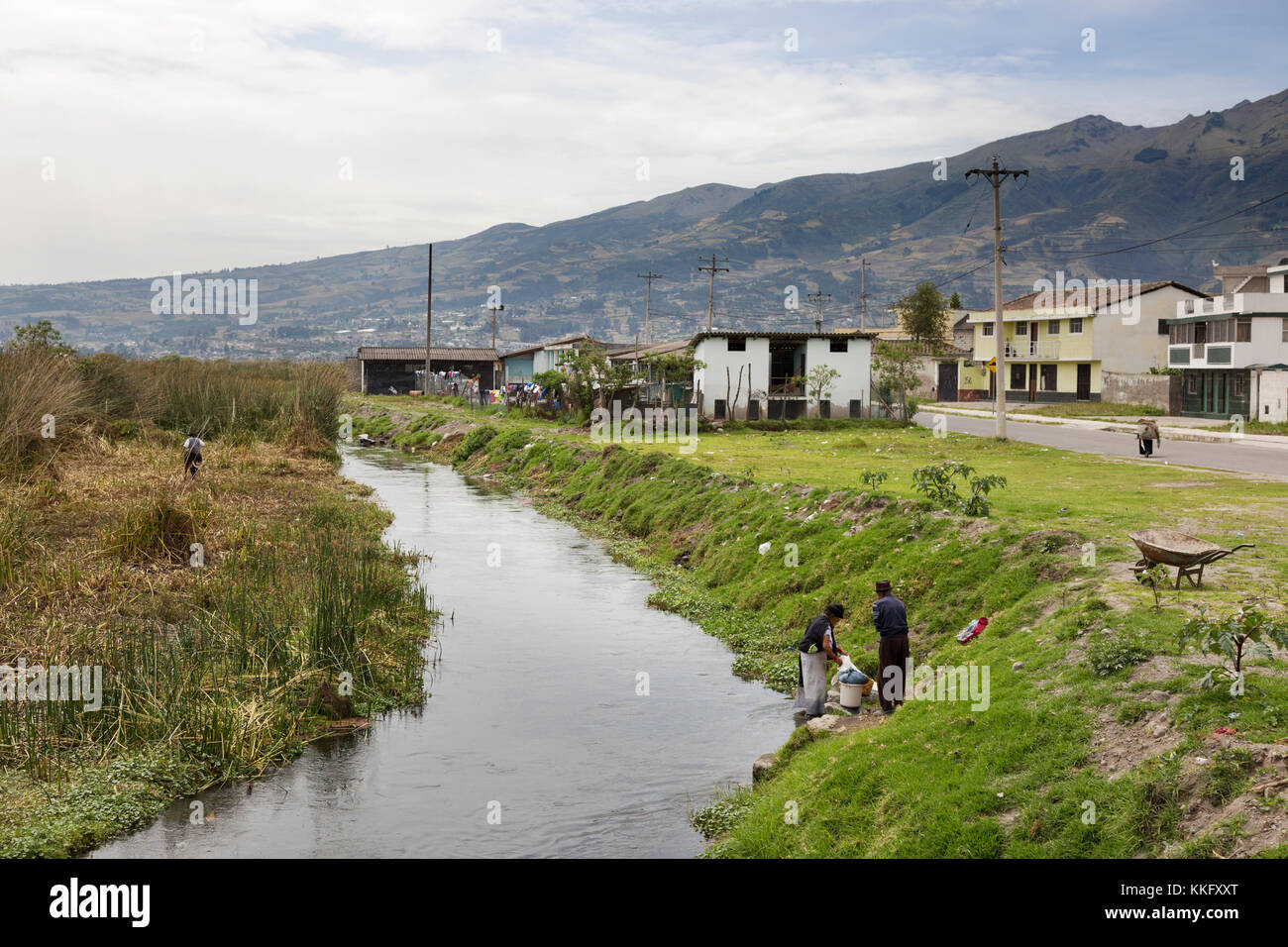 Ecuador South America - indigenous people farming and washing clothes in the river in a village, Northern Ecuador - Stock Image