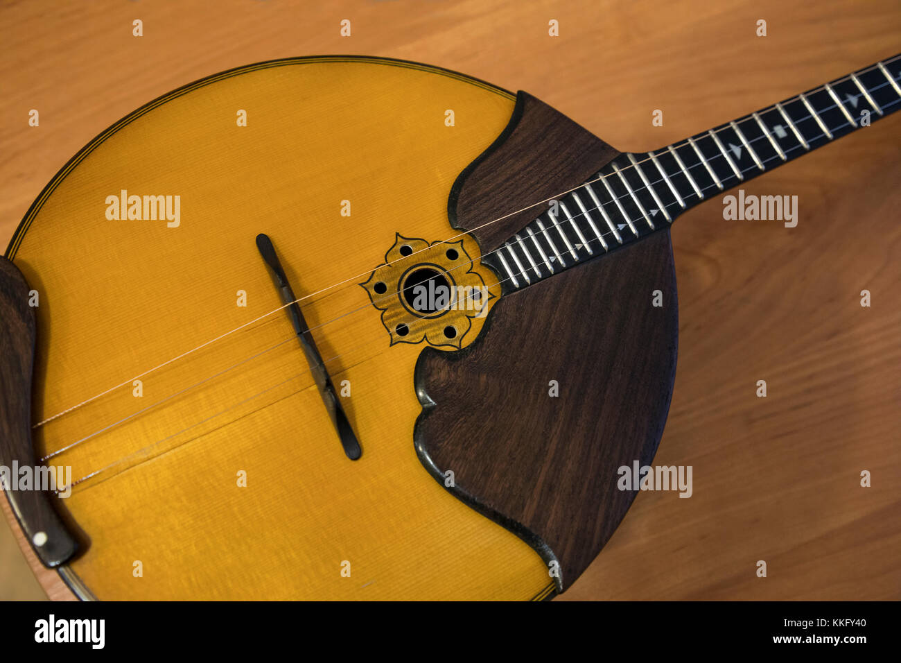 Domra is a long-necked Russian, Belarusian and Ukrainian folk string instrument - Stock Image