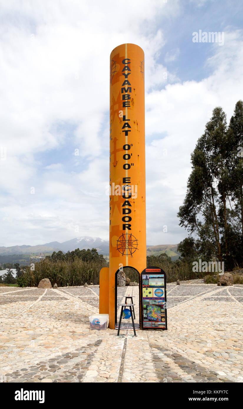 Ecuador Equator monument - The Quitsato Sundial on the equator at Cayambe, Ecuador, South America - Stock Image
