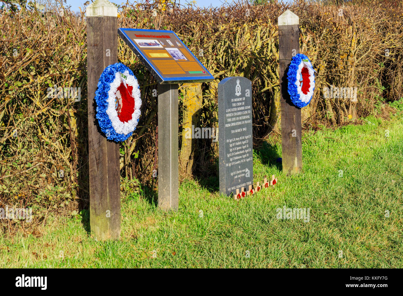 RAF and Royal Canadian Air Force World War II memorial. In memory to the air crew of a Lancaster bomber which crashed Stock Photo