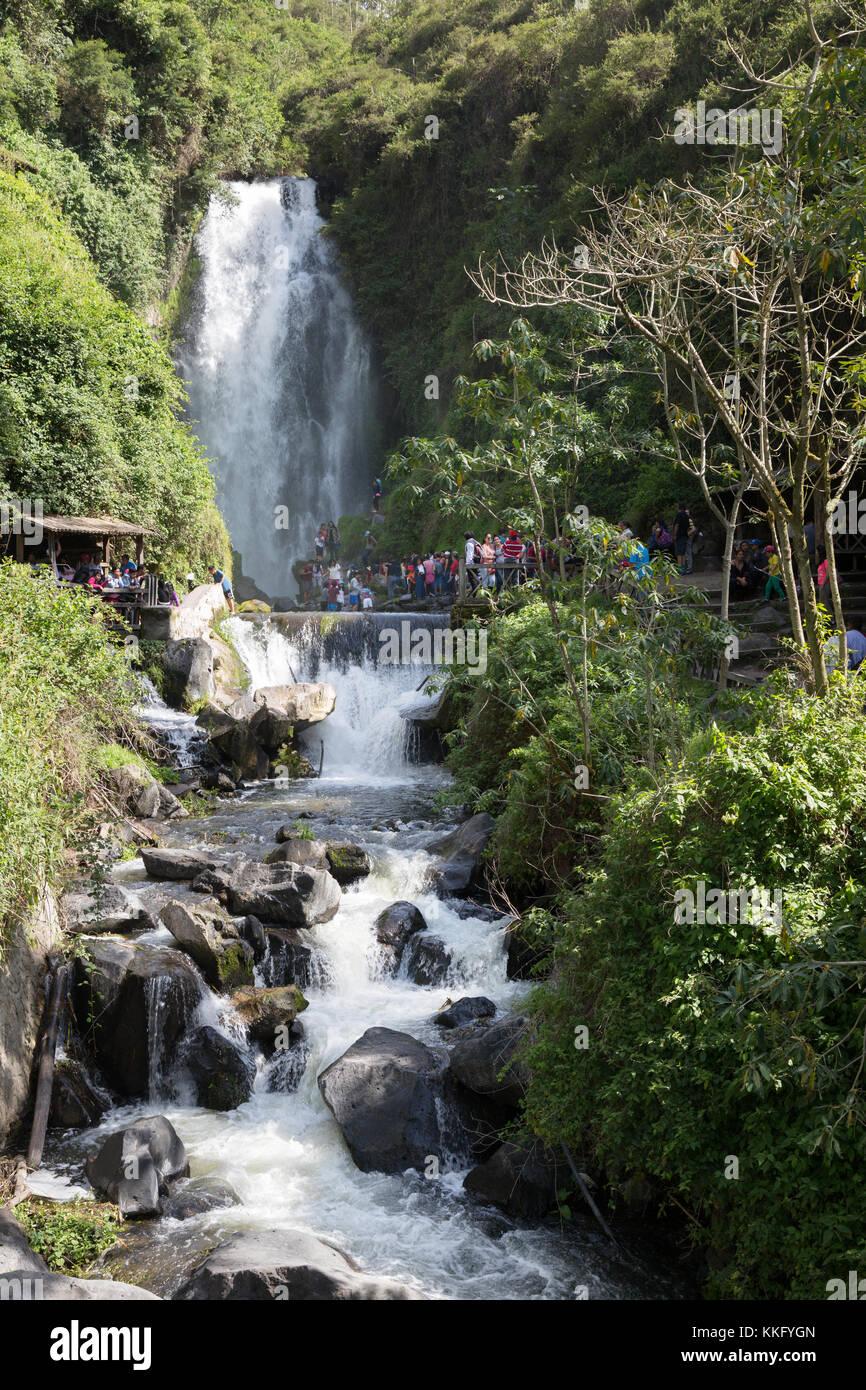 Ecuador waterfall - Peguche Falls, Otavalo, Ecuador South America - Stock Image