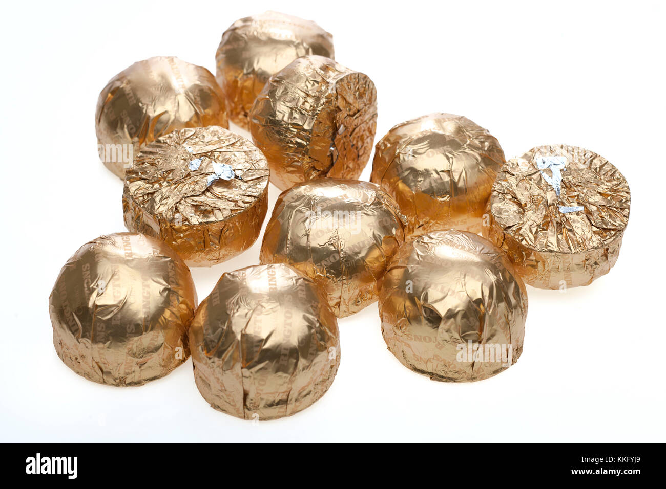 Gold foil wrapped Ringtons Milk Chocolate Mallows - Stock Image