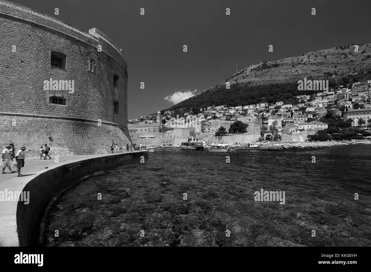 St Johns Fort, Dubrovnik City walls, Dalmatian coast, Adriatic Sea, Croatia, Balkans, Europe.  Dubrovnik is a UNESCO - Stock Image