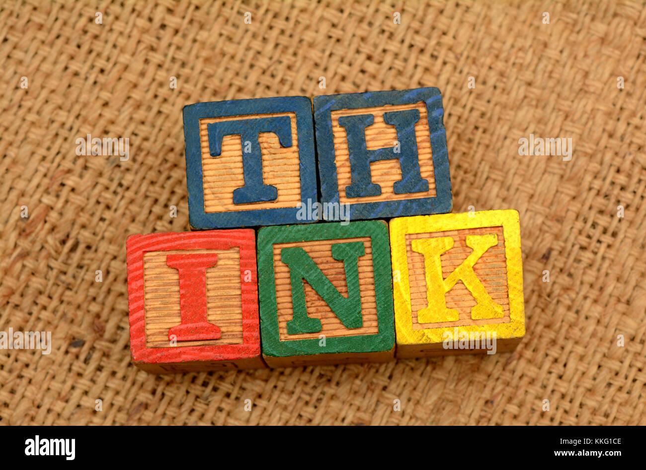 Think word on wood blocks - thinking concept - Stock Image