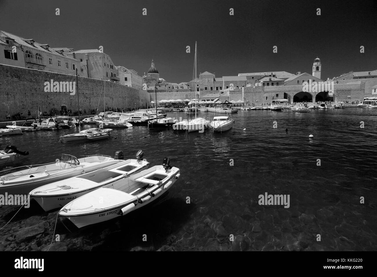 Summer, boats in the Old Port of Dubrovnik, Dubrovnik-Neretva County, Dalmatian coast, Adriatic Sea, Croatia, Balkans, - Stock Image