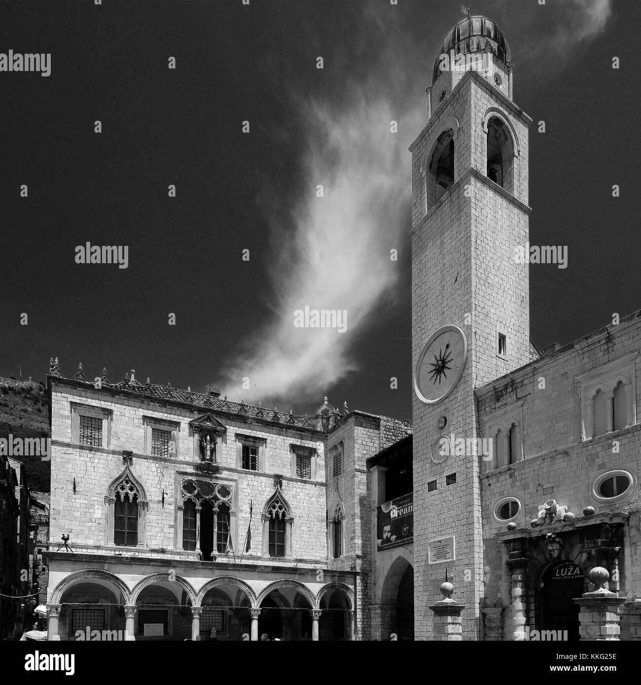 Summer, The Bell tower of the Dominican Monastery, Main Street of Dubrovnik, Dubrovnik-Neretva County, Dalmatian - Stock Image