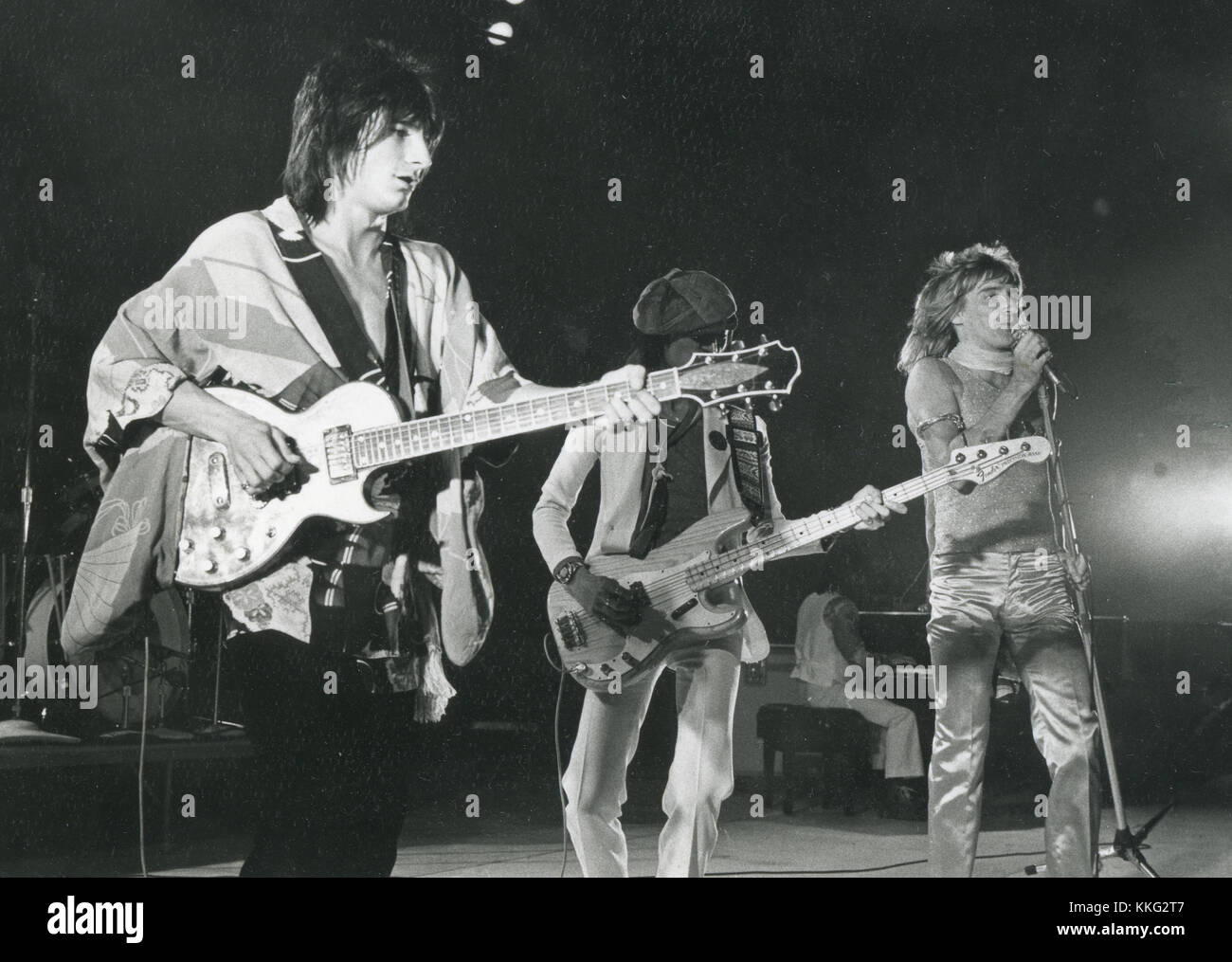 THE FACES  UK rock group about 1970 with from left Ronnie Wood, Tetsu Yamauchi, Rod Stewart - Stock Image
