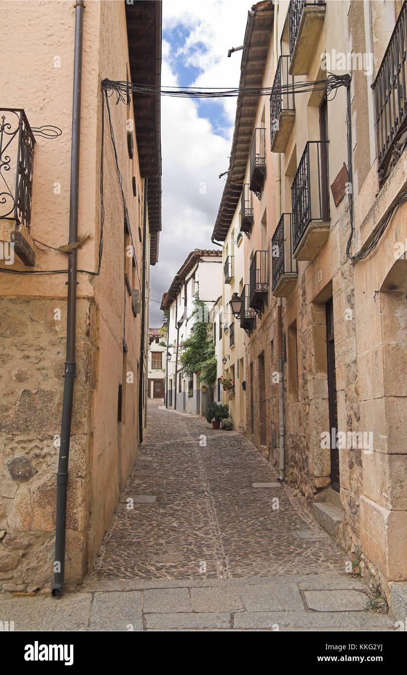 Narrow Street of Cobblestone, Covarrubias, Spain - Stock Image