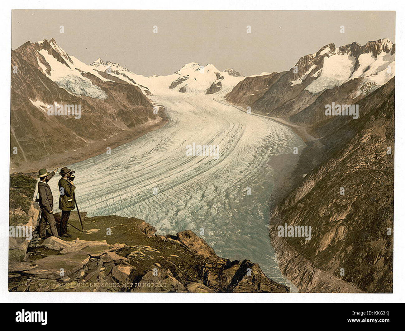 A beautiful vintage landscape with a mountain range - Stock Image