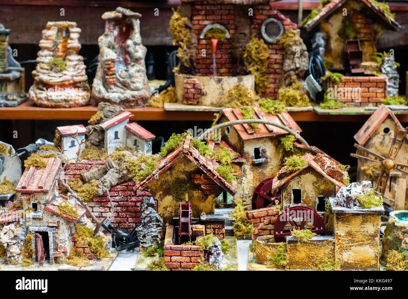 Via San Gregorio Armeno in Naples: street of the nativity scene makers - Stock Image