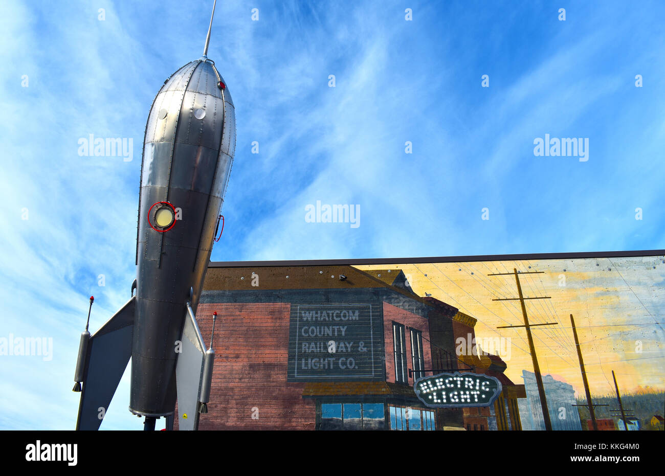 Rocket and mural downtown Bellingham, Washington. Editorial usage only. - Stock Image