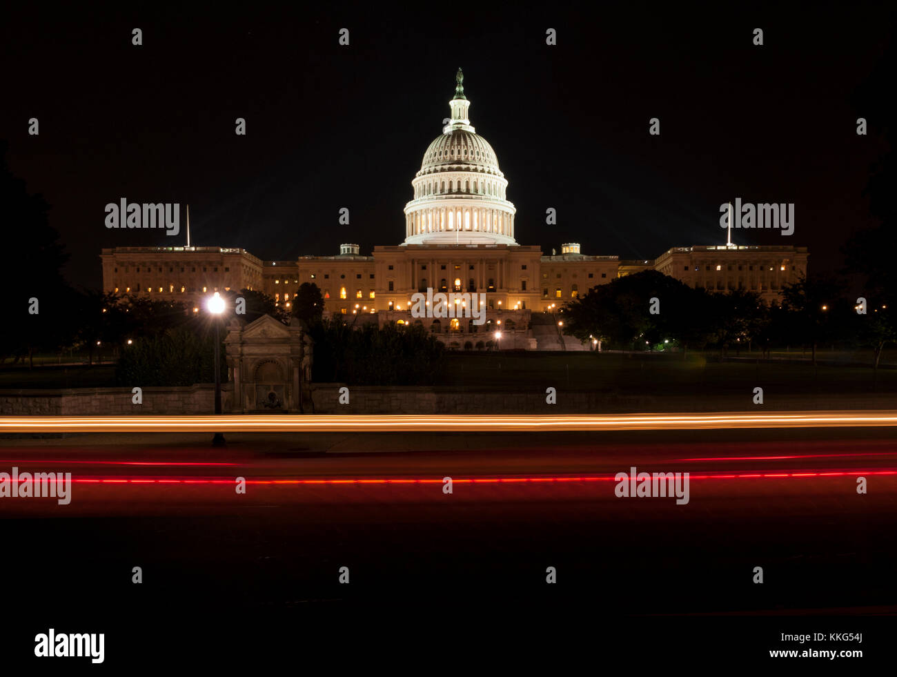 The United States Capitol Building at Night Stock Photo